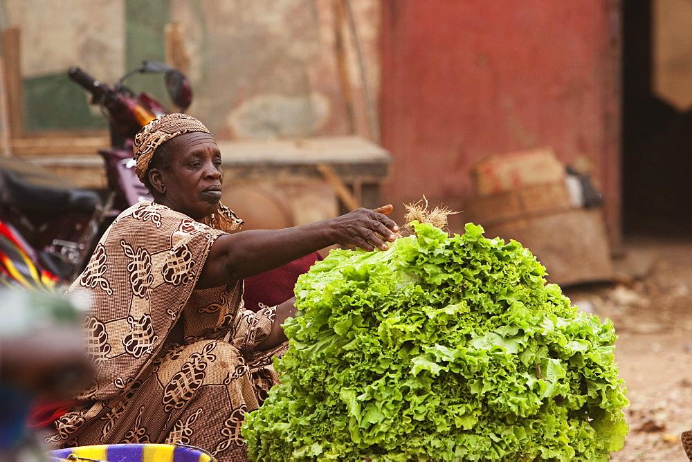 Vegetable vendor at the market, Segou, Mali