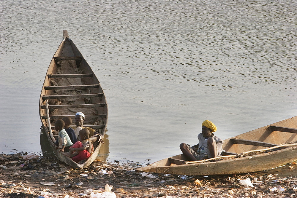 Boats on the Niger River in Mopti, Mali
