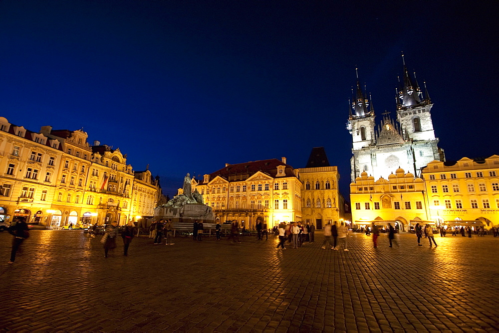 Old Town Square with the Church of Our Lady before Tyn at night, Prague, Czech Republic