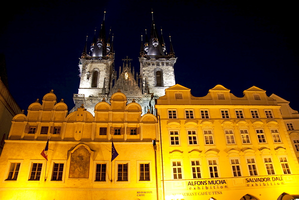 Houses on the Old Town Square with the Church of Our Lady before Tyn at night, Prague, Czech Republic