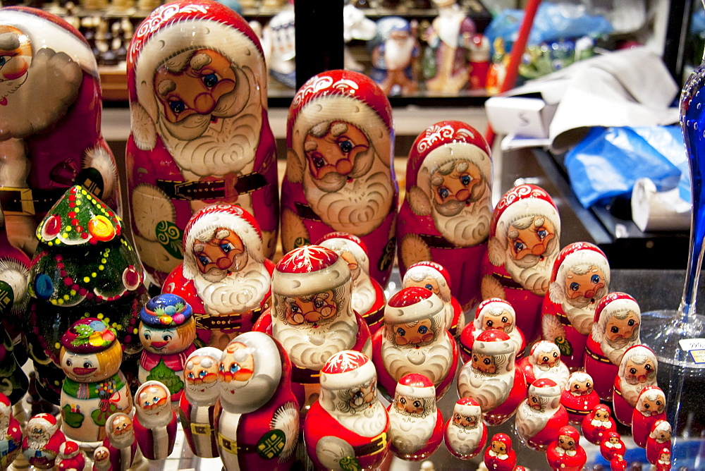 Santa Claus dolls in a window, Prague, Czech Republic