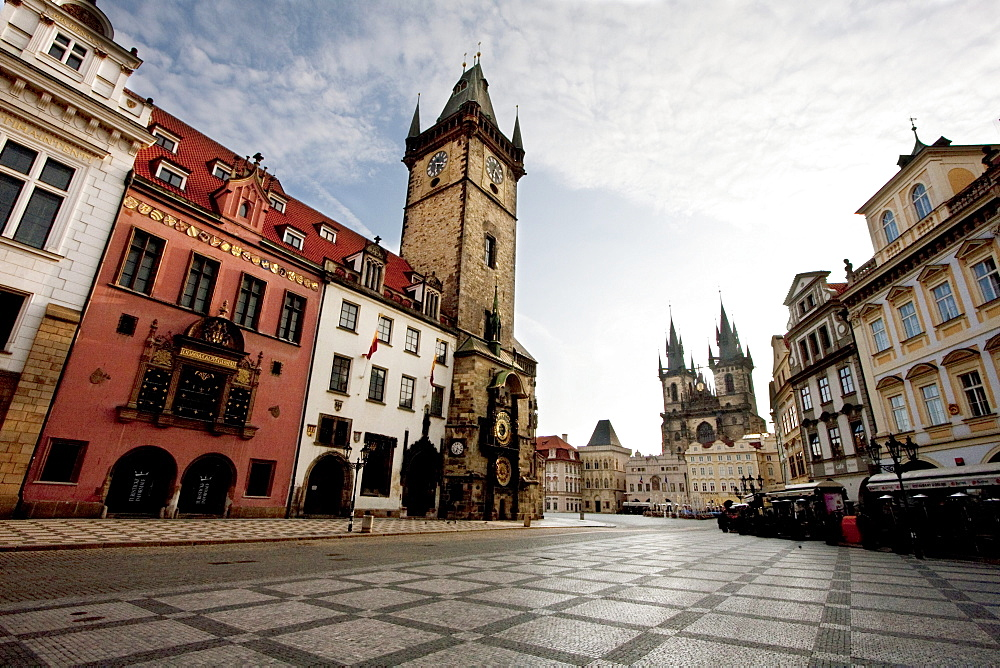 Old Town Hall, Old Town Square and the Church of Our Lady before Tyn, Prague at sunrise, Czech Republic