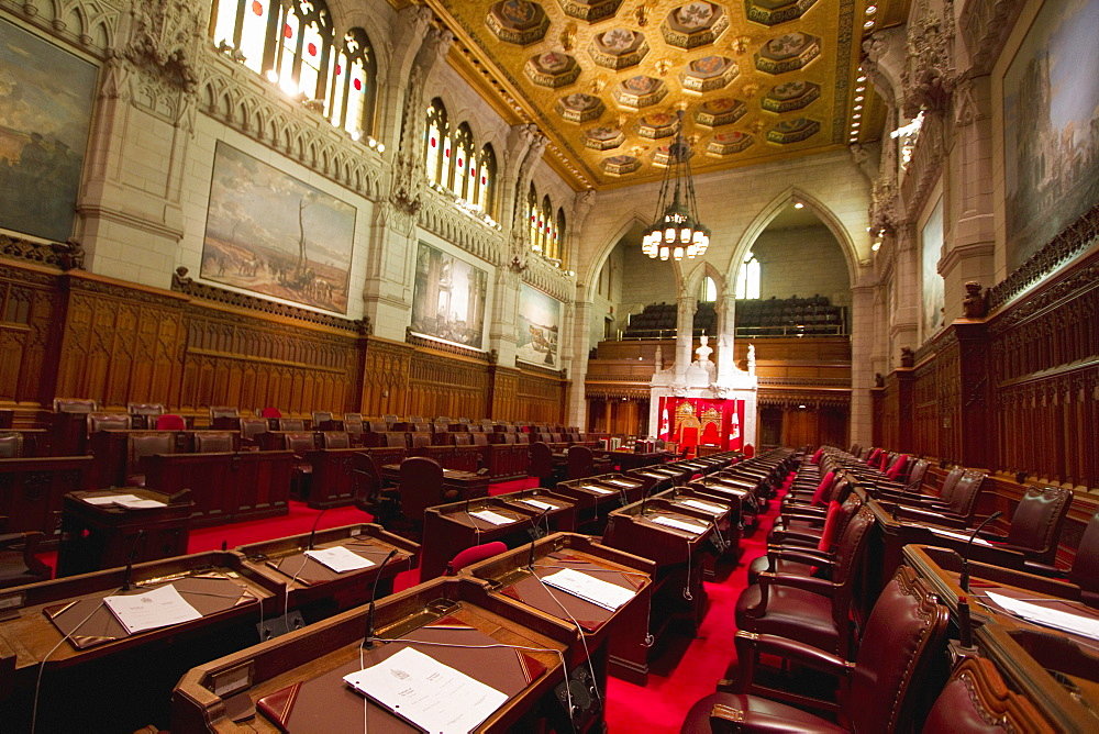 Senate Chamber in the Centre Block of tthe Parliament Buildings, Ottawa, Ontario, Canada
