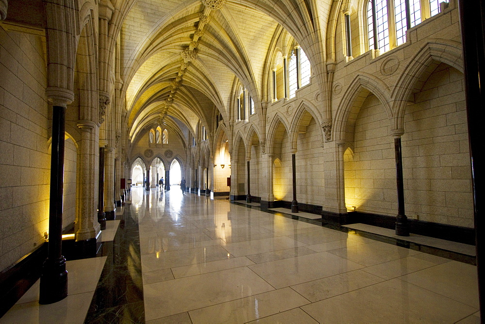 Hallway to the Confederation Hall in the Centre Block of the Parliament Buildings, Ottawa, Ontario, Canada
