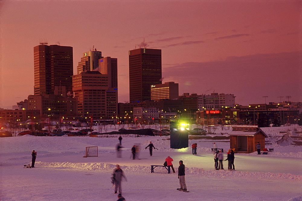 Skaters and Skyline, Winnipeg, Manitoba