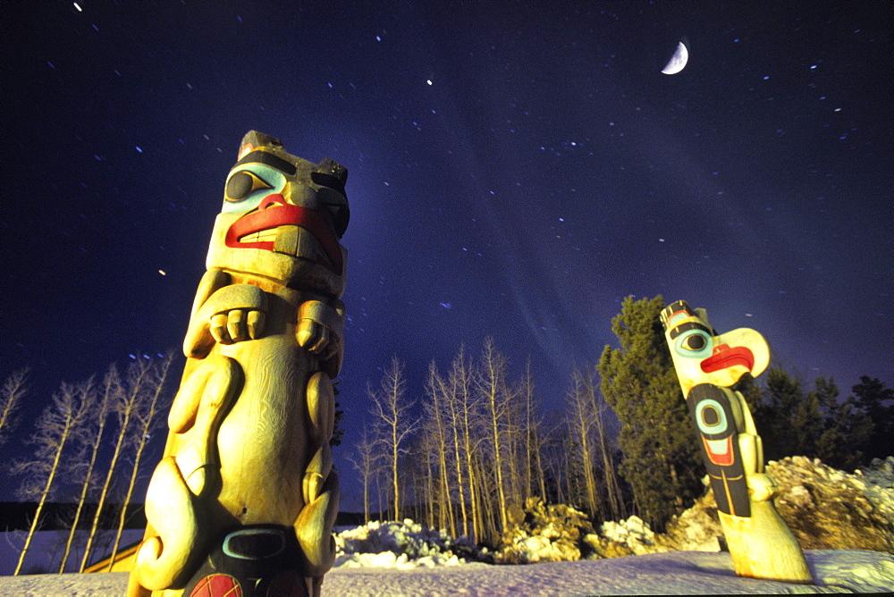 Totems and Aurora Borealis, Teslin, Yukon