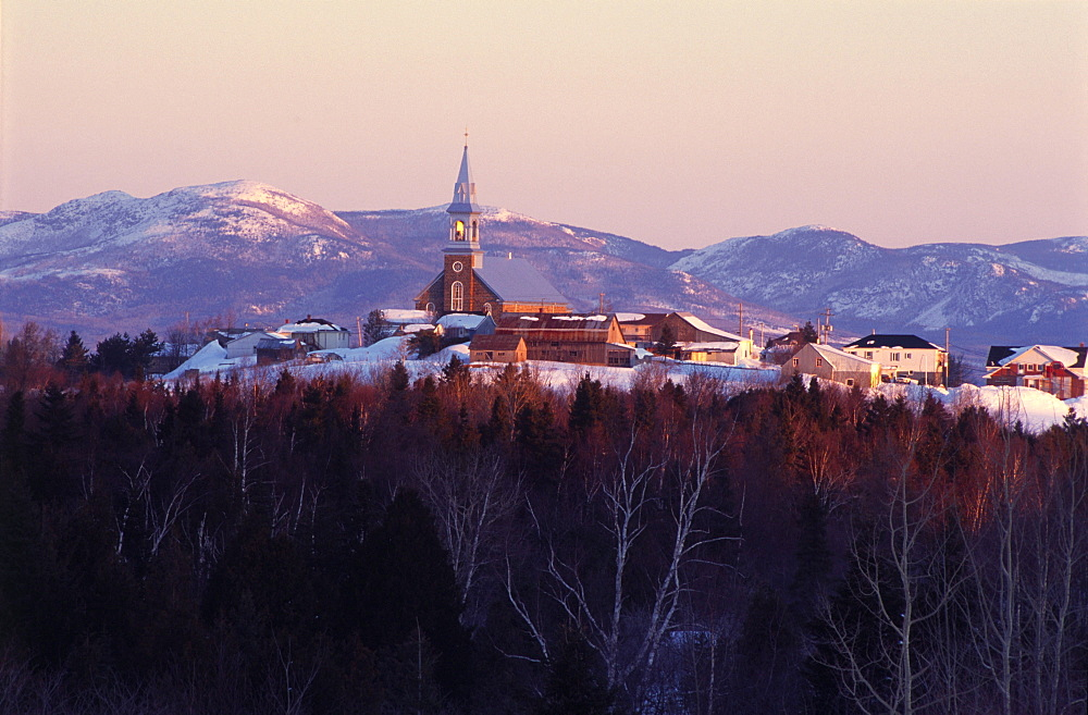 View of Village and Mountains of Grands-Jardins National Park at Sunrise, Saint-Hilarion, Charlevoix region, Quebec
