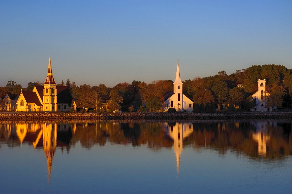 Three Waterfront Churches, Mahone Bay, Nova Scotia