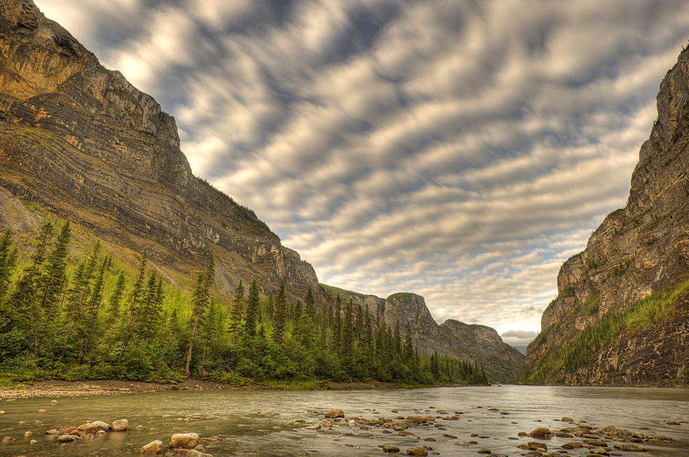Second Canyon on South Nahanni River with river and layered clouds, Nahanni National Park, Northwest Territories