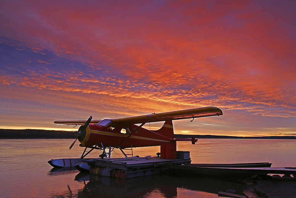 Floatplane in Sunset over the MacKenzie River, Fort Simpson, Northwest Territories