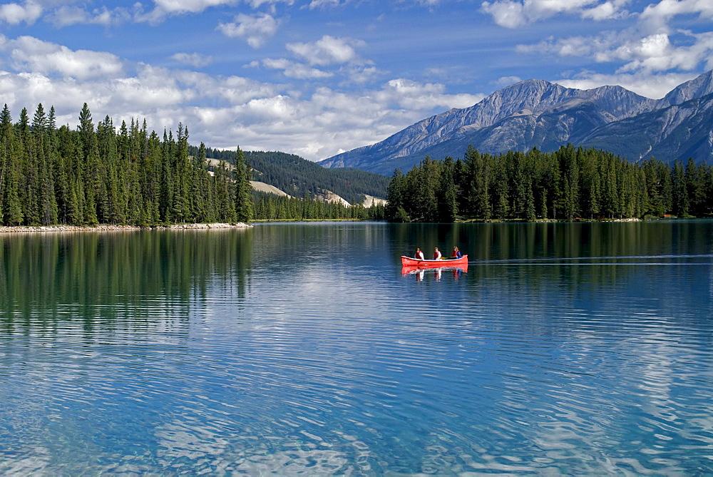 Canoeing on Medicine Lake, Jasper National Park, Alberta