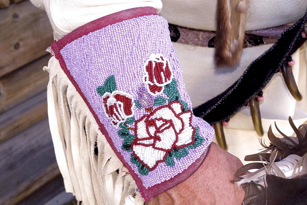 Close Up of a Cree Nation Men's Buckskin Hand Beaded Cuff, Kamloopa Pow Wow, Kamloops, British Columbia