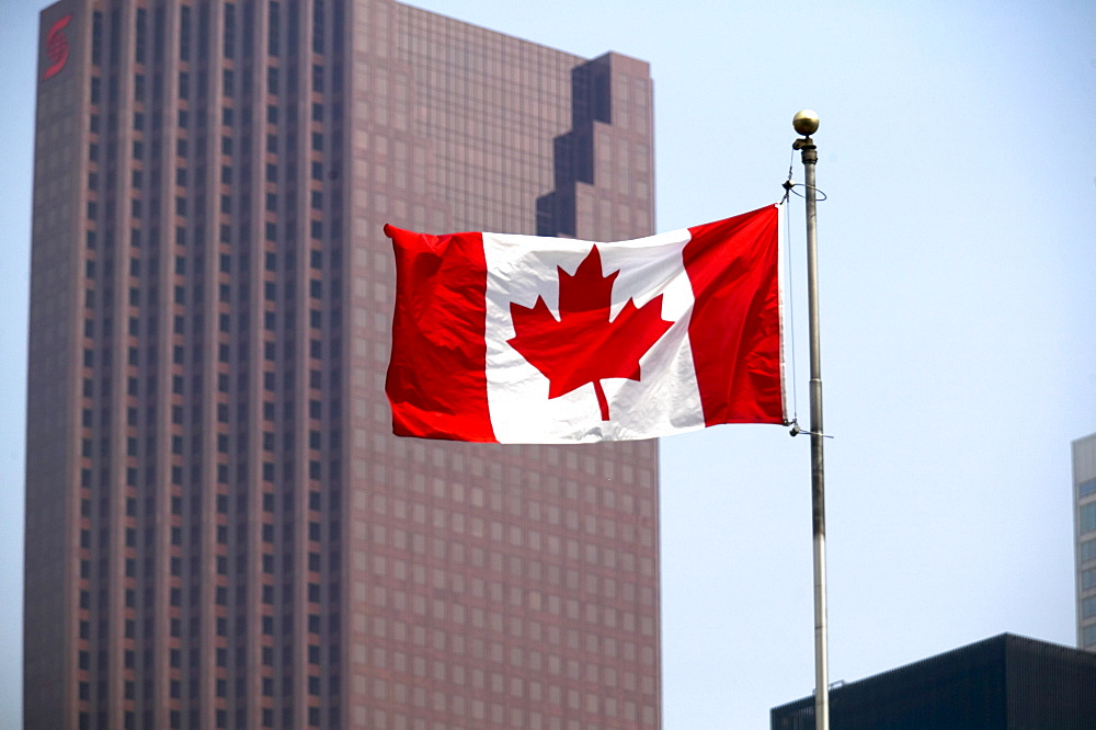 Canadian Flag with City Buildings in background, Toronto, Ontario