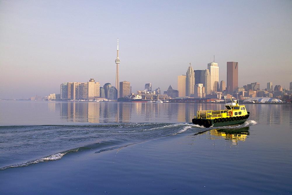 Tugboat and City Skyline, Toronto, Ontario