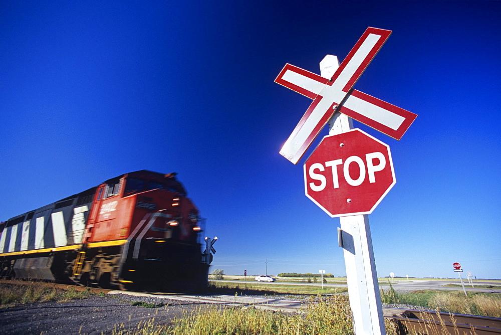 Train Passing Railway Crossing, Winnipeg, Manitoba