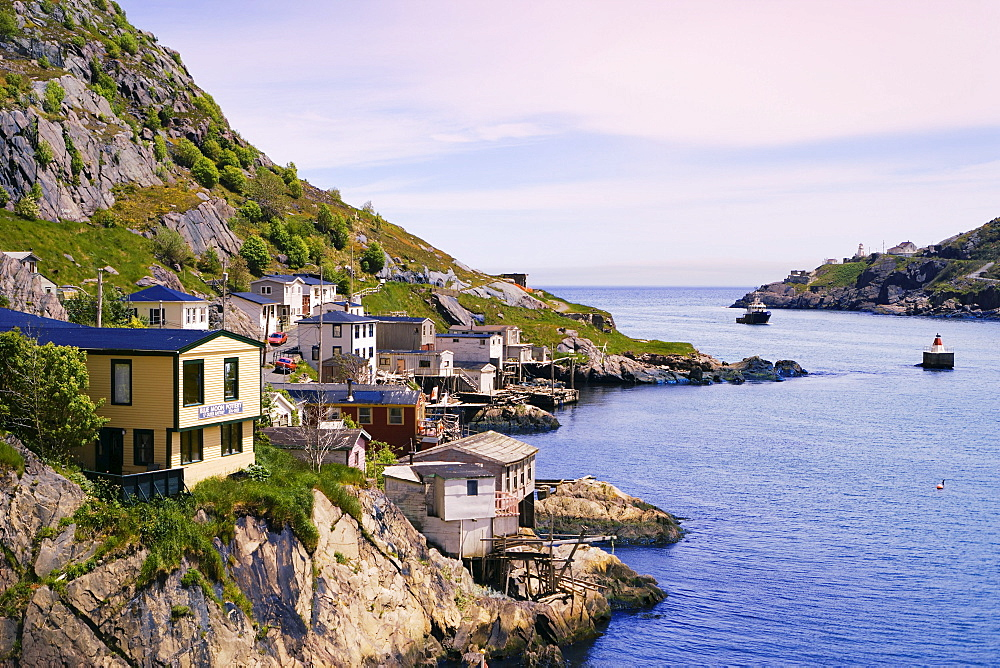 View of Houses in The Battery and Fort Amherst Lighthouse, at the entrance to St. John's Harbour, Avalon Peninsula, St. John's, Newfoundland