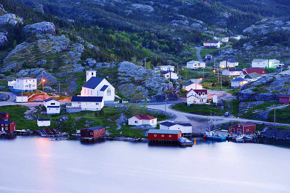 View of Village at Twilight, Salvage, Newfoundland