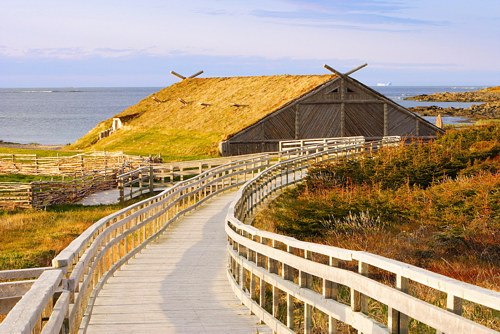 View of Norstead the Viking Village & Port of Trade, L'Anse aux Meadows, Newfoundland