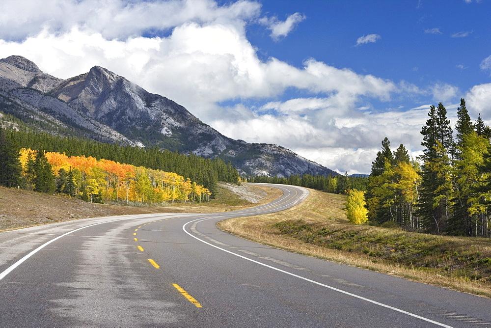 David Thompson Highway at Mount Abraham, Kootenay Plains, Alberta Canada