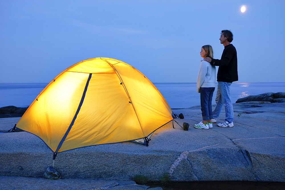 Father and Daughter beside Tent, St. Lawrence Marine Park, Les Bergeronnes, Quebec