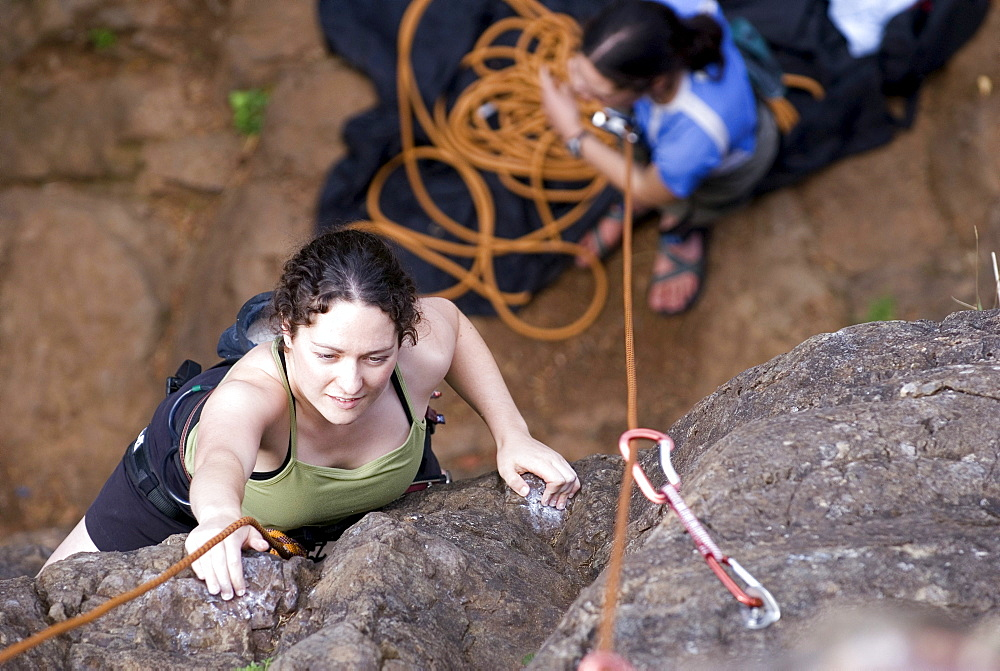 Woman Rock Climbing, near Victoria, BC