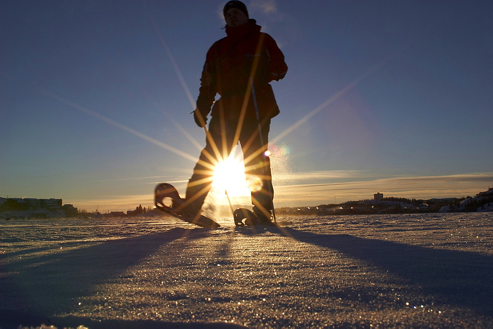 Snowshoeing Back Bay on Great Slave Lake in Yellowknife, Northwest Territories