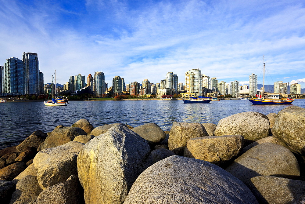 View of False Creek, condominiums of Yaletown and BC Place Stadium, venue for 2010 Winter Olympics, Vancouver, British Columbia