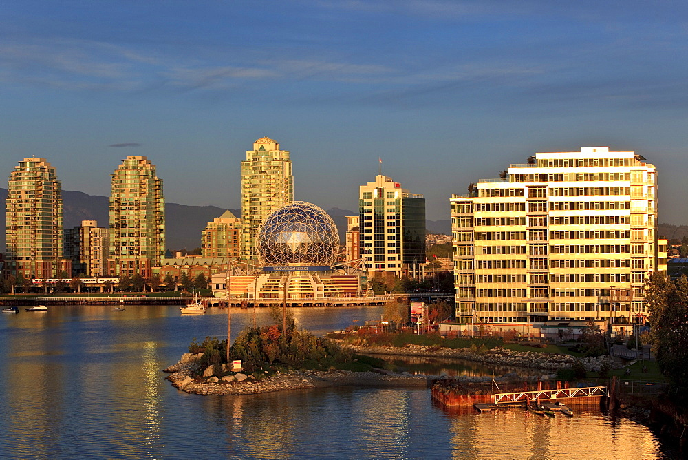 Science Centre and Athlete's Village at sunset, False Creek, Vancouver, British Columbia