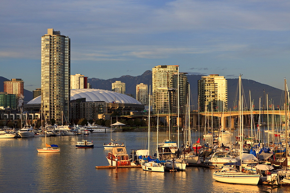 View of False Creek to condominiums of Yaletown and BC Place Stadium, venue for the 2010 Winter Olympics, Vancouver, British Columbia