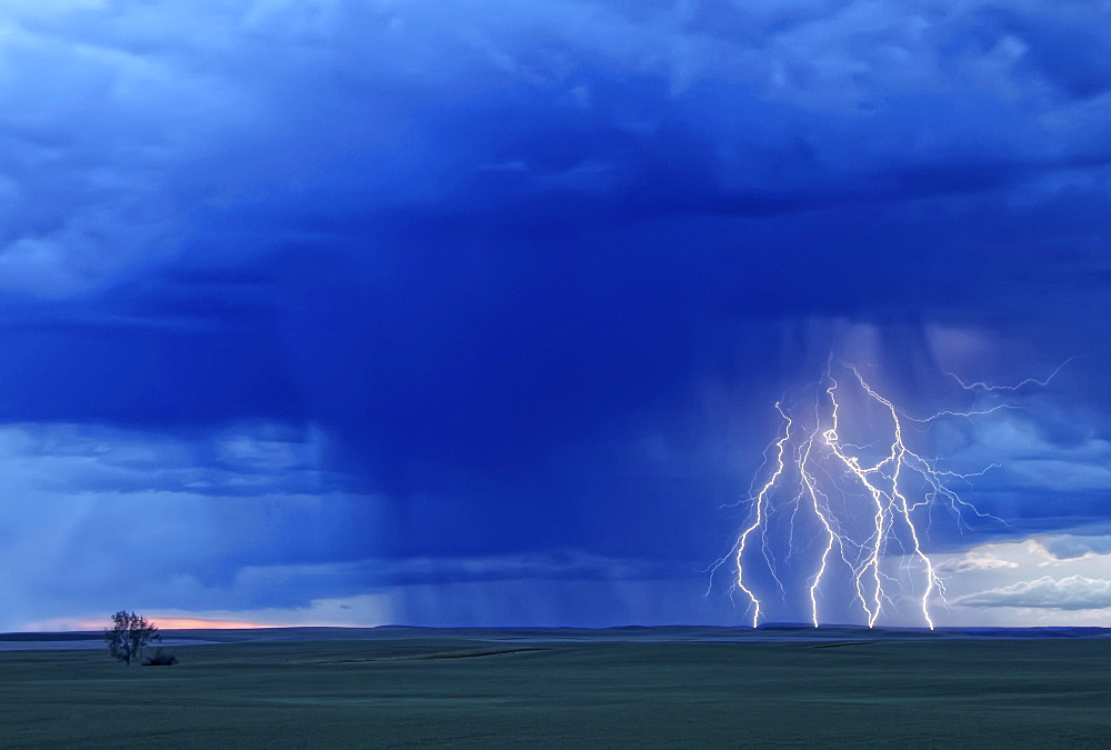 Multiple lightning strikes during a storm near Val Marie, Saskatchewan