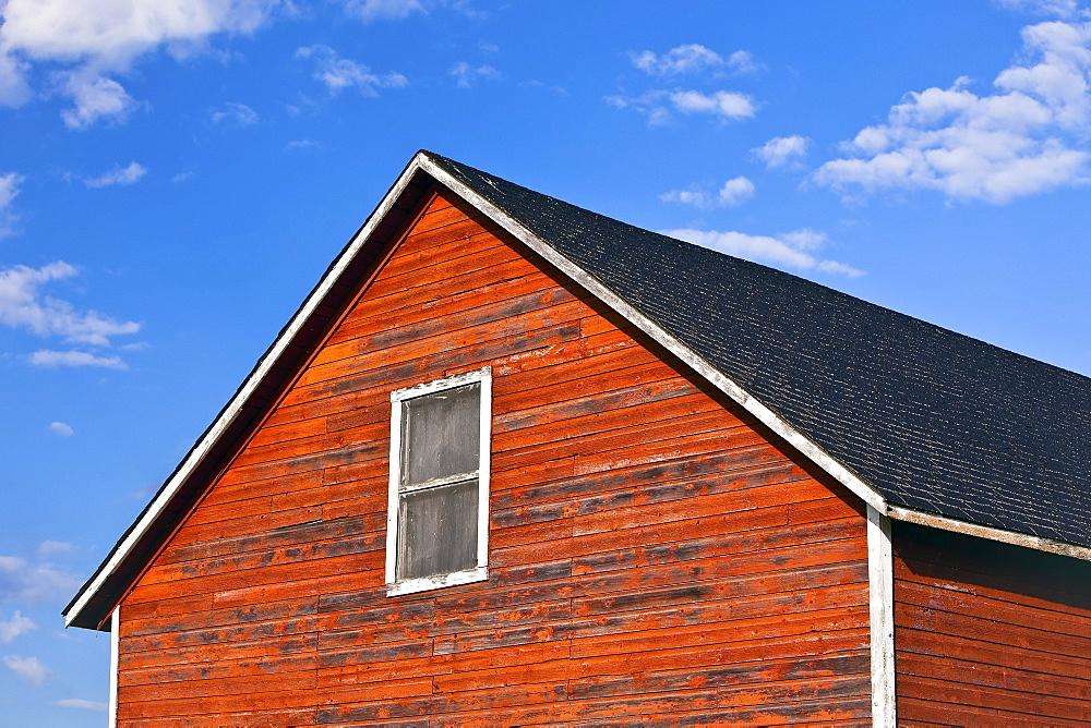 Red Barn in historic Icelandic settlement of Hecla Village, Hecla Island Provincial Park, Manitoba
