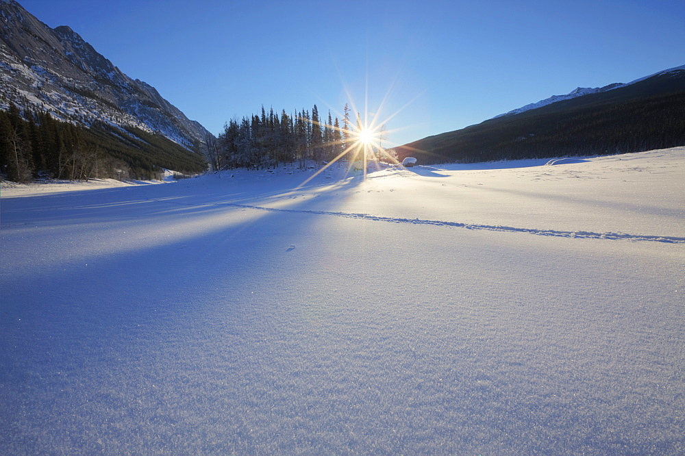 Winter morning with fresh snow covering frozen Medicine Lake, Jasper National Park, Alberta