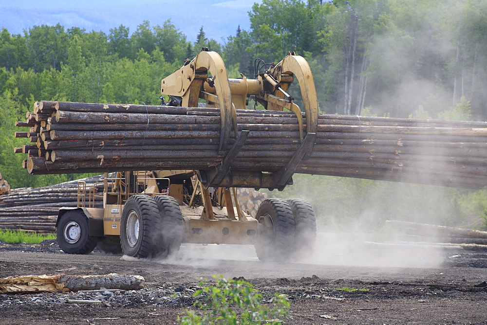 'Le Tourneau' log loader working in sawmill log yard, Houston, British Columbia