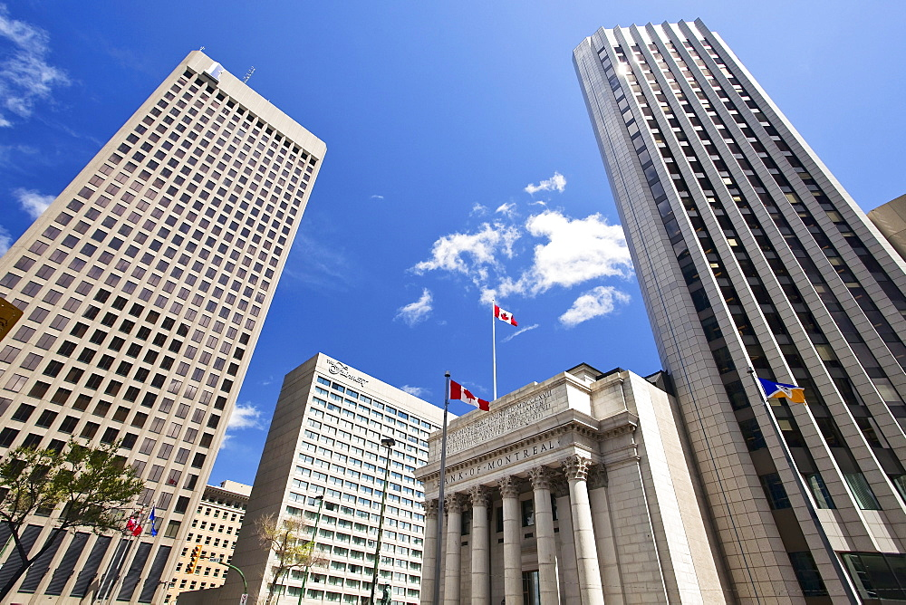 Office towers at the intersection of Portage and Main, downtown Winnipeg, Manitoba