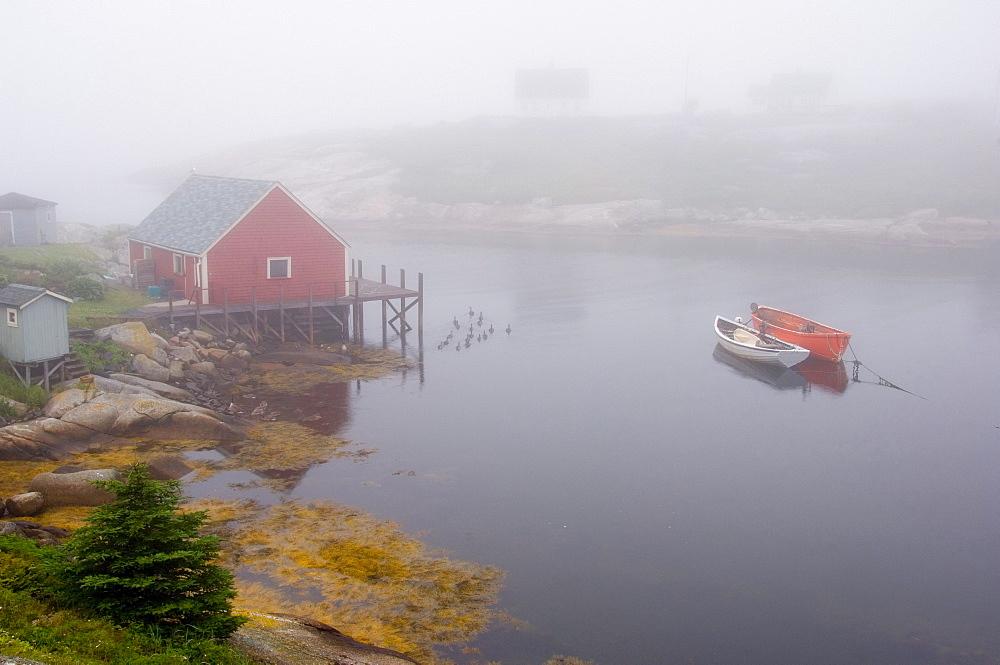 Boathouse and boats, Peggy's Cove, Nova Scotia