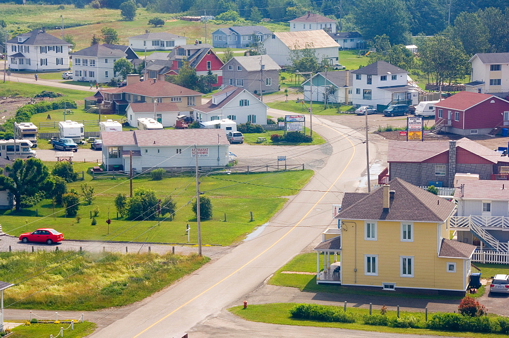View of road, homes and trailers, Quebec