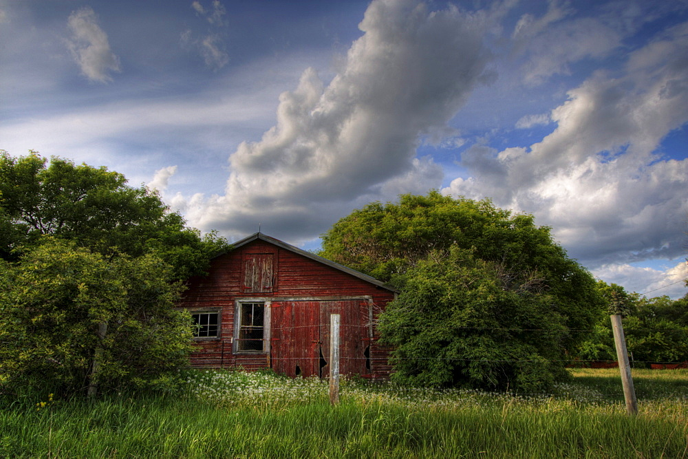 Old Red Farm House in Summer, north of Edmonton, Alberta