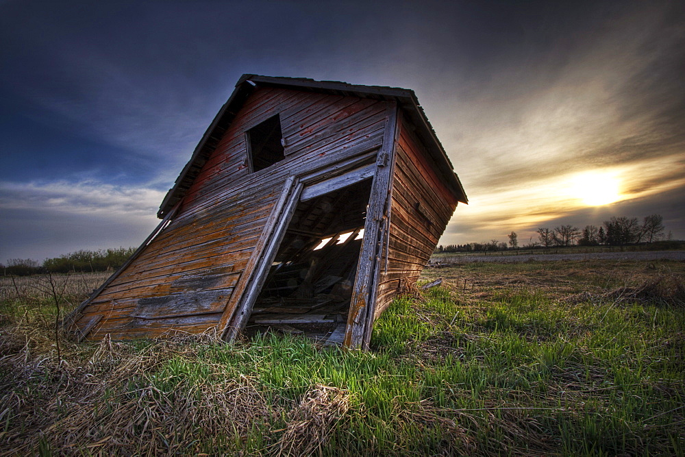 Falling Granary at Sunrise, Prairies in Edmonton, Alberta