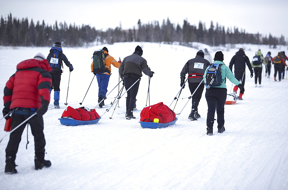 The starting push of the first Rock/Ice Ultra marathon in Yellowknife, Northwest Territories in 2007