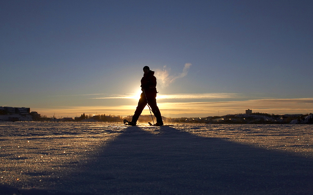 Snowshoeing the Back Bay portion of Great Slave Lake in Yellowknife, Northwest Territories
