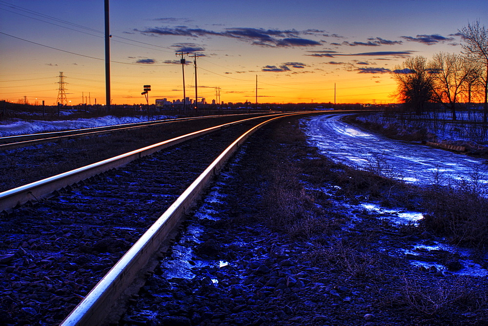 Railway Track Strathcona at Sunset in Winter, Edmonton, Alberta