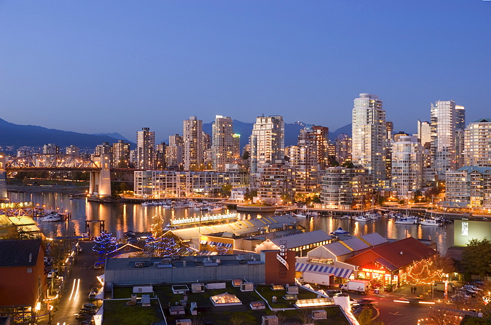 Night View of Granville Island and Downtown Skyline at False Creek, Vancouver, British Columbia