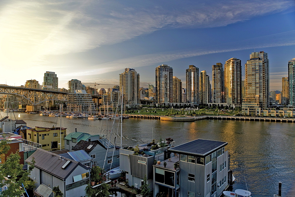 Downtown looking North-West over False Creek and Granville Island, Vancouver, British Columbia
