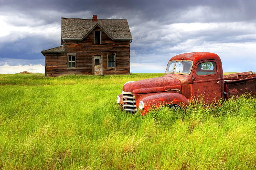 Abandoned Homestead House and Red Pick-Up Truck, Southwestern Saskatchewan