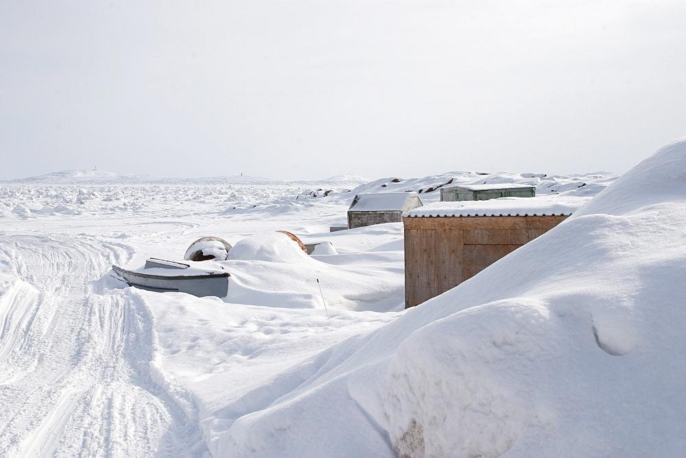 Snow covered sheds, Iqaluit, Nunavut