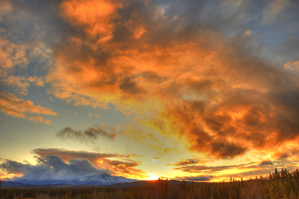 Sunset over Dawson Peaks, Teslin, Yukon