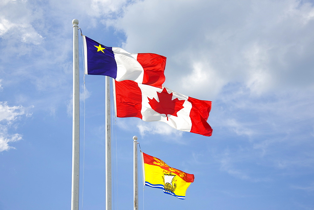 Acadian, Canadian and New Brunswick Flags, Bouctouche, New Brunswick
