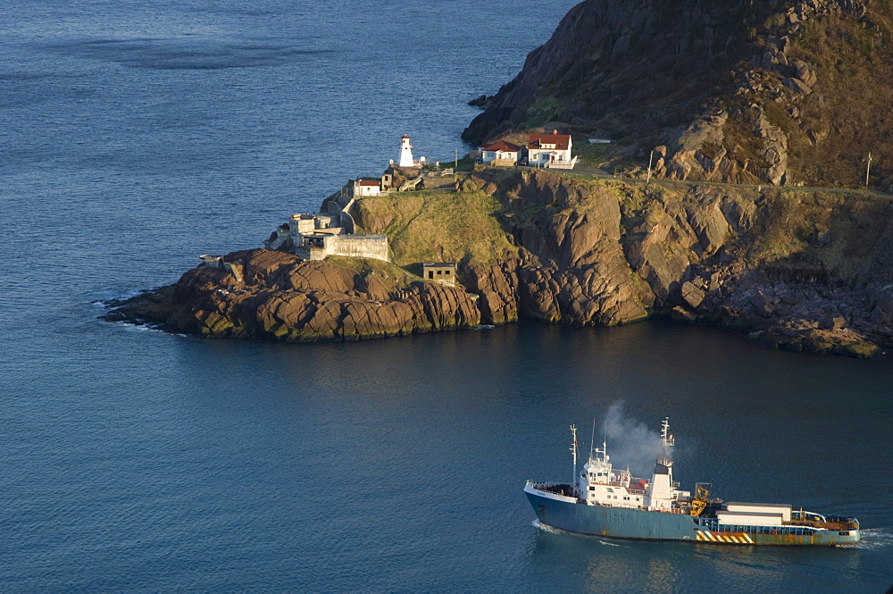 Offshore Oil Rig Tender passes The Battery, St. John's Harbour, Newfoundland and Labrador