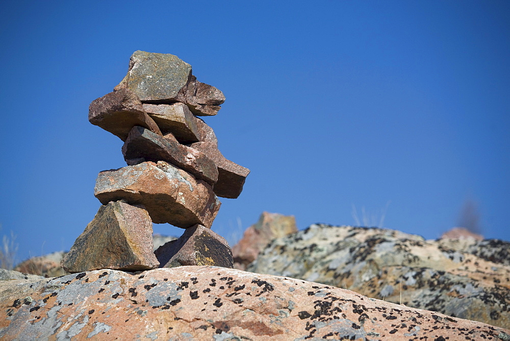 Inukshuk on a Rocky Ledge, outside Yellowknife, Northwest Territories