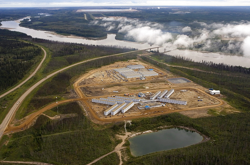 A Work Camp Housing Oil Sands Workers, near the Athabasca River and Highway 63 north of Fort McMurray, Alberta